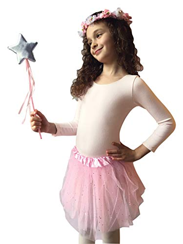 OLYPHAN Tutu Costumes for Kids: Pink Tutu Costume Toddler Girls Dress Up/Star Magic Wand & Flower Princess Crown Halloween & Christmas Gift