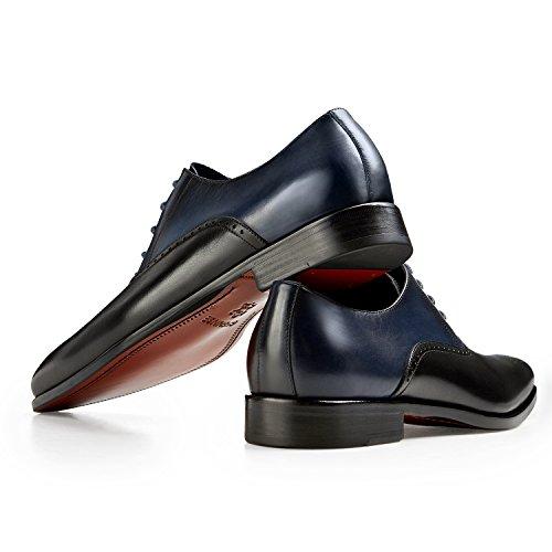 Gifennse Mens Lace Up Robe Oxford Chaussures Classiques Noir Et Bleu