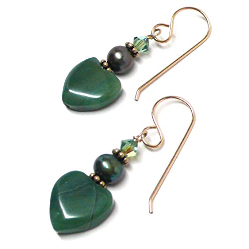 African Green Jasper 12mm Heart Sterling Silver Gold-Filled Earrings