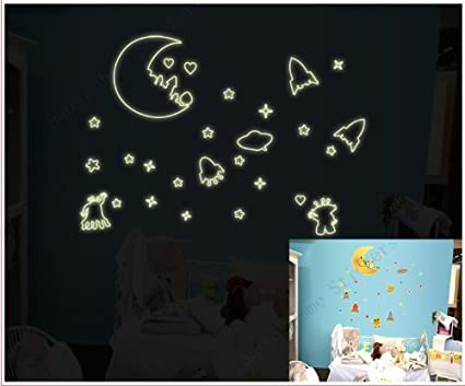 Glow In The Dark Wall Stickers Rockets Stars UFO Luminous Removable Decal Lunar