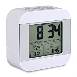 Accering Travel Digital Alarm Clock, Battery Operated Square LED Small Dual Alarm Clock, Sunrise Wake up Light with Sleep Timer, Day/Date Display for Heavy Sleepers, Kids, Bedroom (White)