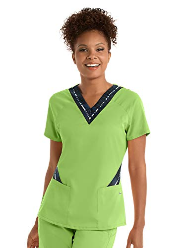 - Grey's Anatomy Active GVST017 Women's Zip Text Scrub Top Kiwi/Steel/White Stripe M
