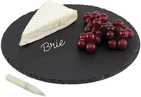 mDesign ronde serveerplank van leisteenstijlvol dienblad voor kaas worst canapés gedroogd fruit crackers en meerkaasplankje met krijtje om te schrijvenzwart