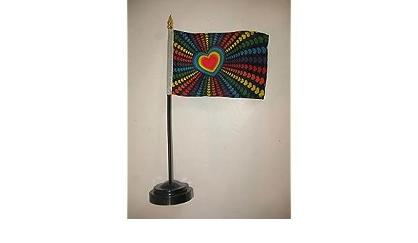 "Heart Rainbow Love Hearts Gay Pride Flag 4/""x6/"" Desk Set Table Stick Gold Base"