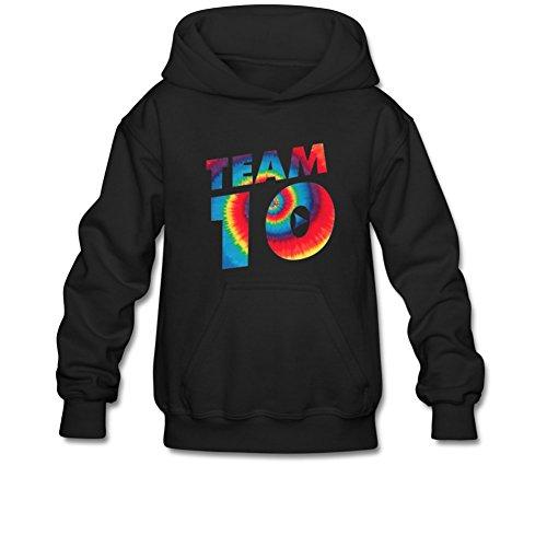 Aliensee Youth Tie Dye Jake Paul Team 10 Hoodie Sweatshirt Suitable For 10-15yr Old M Black