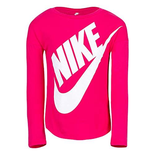 NIKE Children's Apparel Girls' Little Long Sleeve Sportswear Graphic T-Shirt, Rush Pink, 6X
