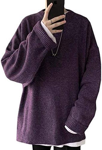 [MLboss]ニット メンズ クルーネック セーター ゆったり 長袖 プルオーバー スリット 無地 カットソー シンプル 保温 トップス ファッション ニットセーター 防寒 秋 冬 トレーナー