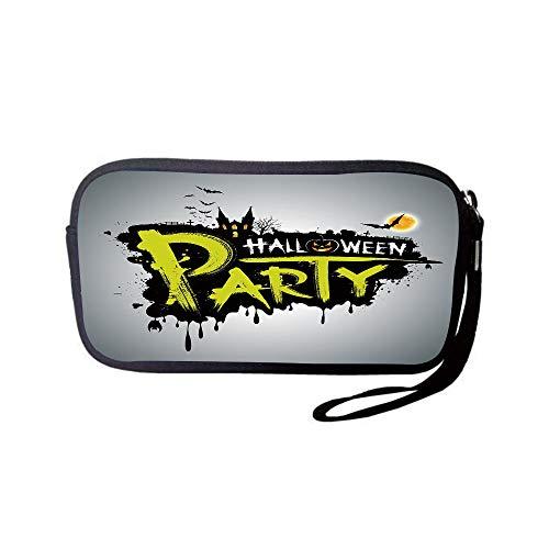iPrint Neoprene Wristlet Wallet Bag,Coin Pouch,Halloween,Halloween Party Hand Drawn Brushstrokes Artistic Design Grunge Cartoon,Yellow White Black,for Women and Kids -