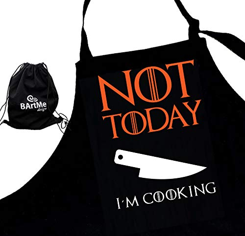 Halloween Is Not Satan's Birthday (Bartme Design - Halloween BBQ Chef Apron - Cooking Grilling - 2 pockets - Adjustable -  Funny Attitude Aprons - Not)