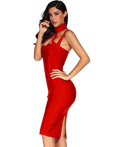 Straless Bodycon 1 Meilun Dress Sleeveless Womens Dress Bandage Red xqwAXwR