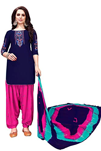 ethnicmode New India/Pakistani Patiala Salwar Embroidered Cotton Salwar Kameez (Blue, M-40) ()