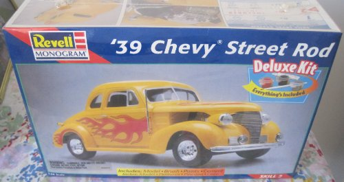 Revell '39 Chevy Street Rod Model Kit - 1:24 Scale - Deluxe Kit with Model, Paint, Brush and Cement