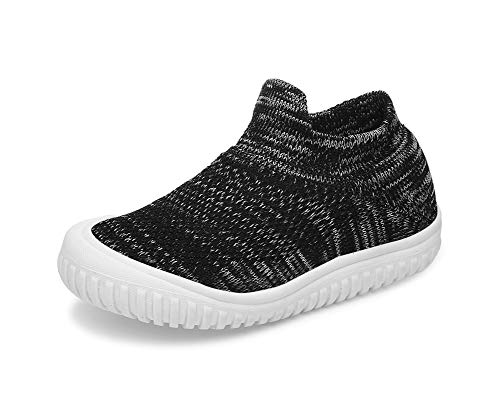- Toddler Boy Shoes Baby Walking Memory Foam Knit Mesh Sock Sneakers (6.5 Toddler, Black/White)