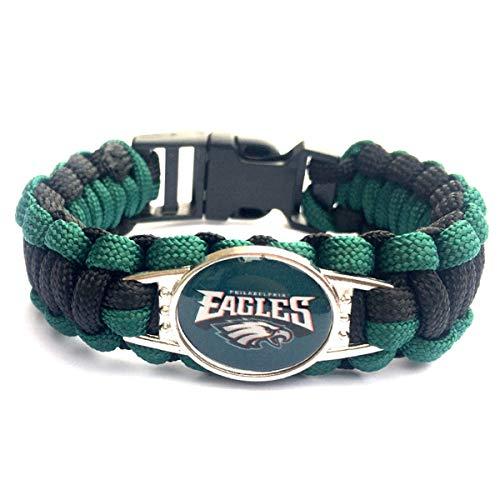 (JJCat Men's One Size Knitted Color Patchwork Philadelphia Eagles Watch Band Survival Umbrella Rope Bracelet)