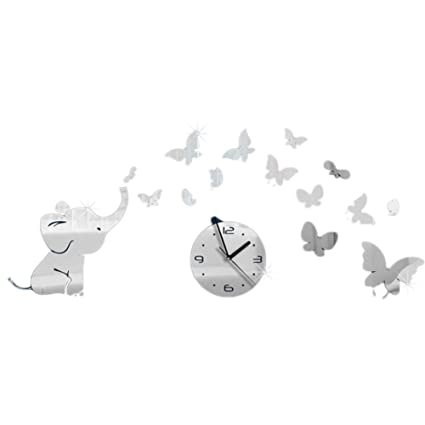FONGFONG 3D Medium Acrylic Non Ticking Silent Wall Clock Sticker with Elephant and Butterflies DIY Mirror
