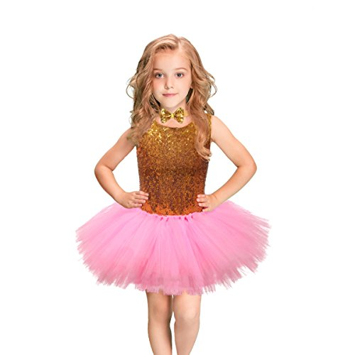 Fulu Bro Sequin Tutu Dress Baby Girls Pink Tutu Party Dress with Bow Tie for Party Wedding Dancing, 8T (Suit for -