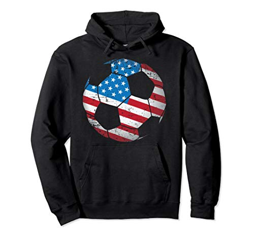United States Soccer Ball Flag Jersey Hoodie - USA Football