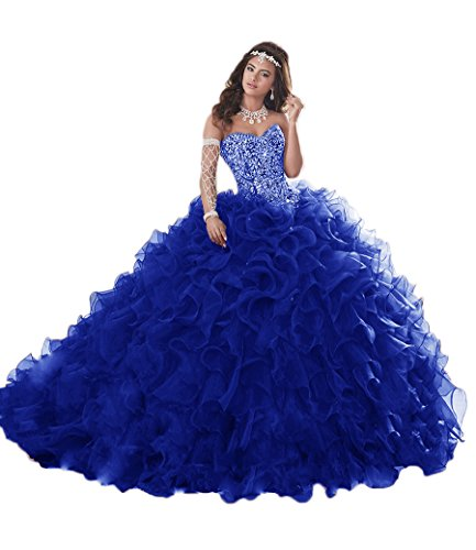 XSWPL Gorgeous Heavy Beaded Organza Quinceanera Dresses for Sweet 16 Ball Gowns Royal Blue US4