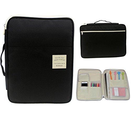 Channelook Multi-functional A4 Document Bags Files Portfolio Organizer Messenger iPad Handbag Storage Zippered Case for Travel Office (Black)