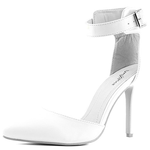 Women Ankle Pointed Toe Sandals High Heels Shoes (White) - 1