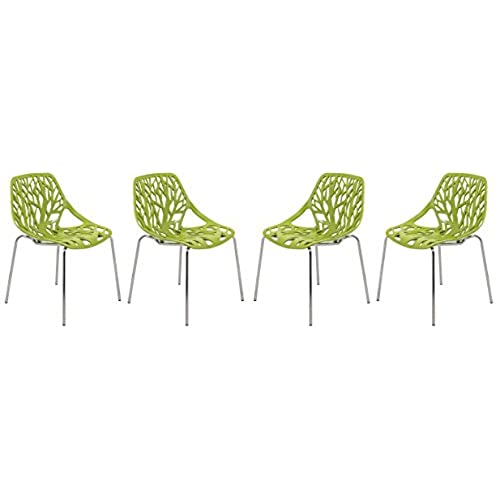 leisuremod asbury modern dining chair with chromed legs set of 4 green