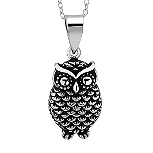 Finejewelers Oxidized Sterling Silver Owl Pendant Necklace