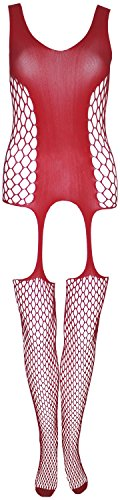 Deja Beauty of USA Crotchless Fishnet Bodystocking, Red, S/M