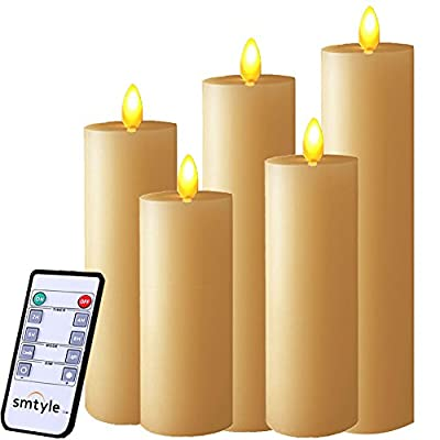 smtyle Real Flame Effect Candles Battery Operated with Moving Flame Wick Flickering LED Pillar Candle,Ivory Flat Top 5