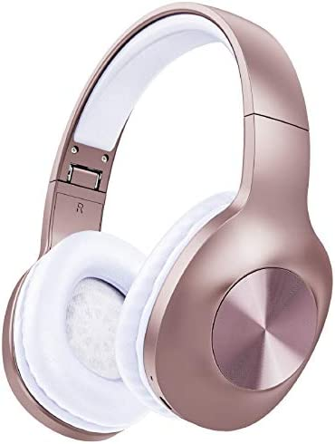 LETSCOM Bluetooth Headphones, 100 Hours Playtime Bluetooth 5.0 Headphones Over Ear with Deep Bass, Hi-Fi Sound and Soft Earpads, Built-in Mic, Wired/Wireless Headset for Home Office-Rose Gold