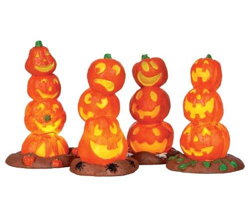 Lemax Spooky Town Halloween Light Up Pumpkin Stack, Pack of 4 #34623