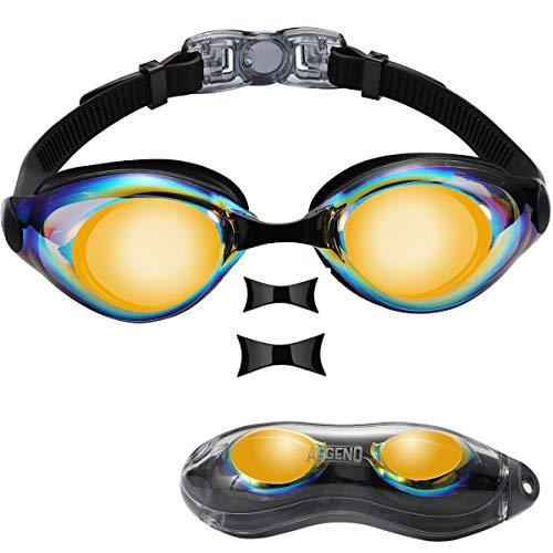aegend Swim Goggles, Swimming Goggles of Flat Lens for Men Women Adult Youth Kids Children, Anti-Fog UV Protection Leak-Proof Triathlon Swim Goggles with Protection Case, Mirrored Orange