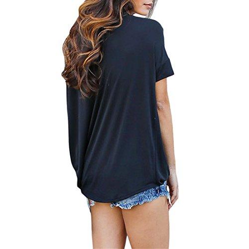 Ai.Moichien La manera plisó el cuello V del ahogador acanalado cortó la blusa superior sólida sólida de la tapa de la camiseta floja Negro