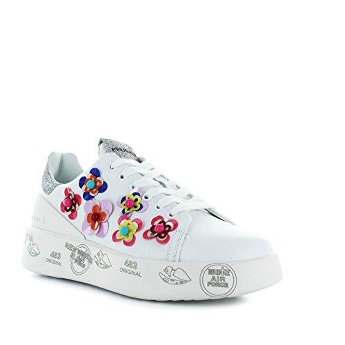 PREMIATA Damenschuhe Sneaker Belle 3008 Weiss mit Blumen Frühling-Sommer 2018
