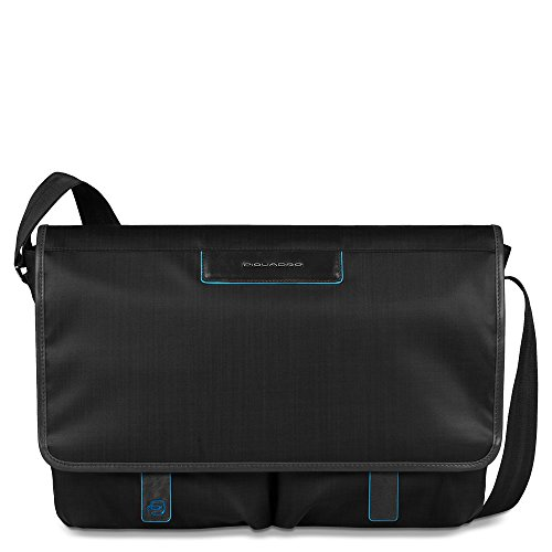 Piquadro Messenger with Two Front Pockets, Black, One Size by Piquadro
