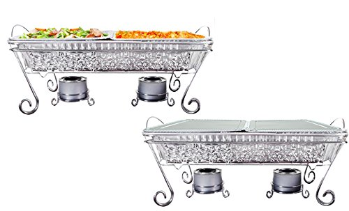 Tiger Chef Decorative Ornate Disposable Chrome Wire Full Size Chafer Stand Pans Set - Elegant Catering Set Serving Dishes for Parties (22-piece set)