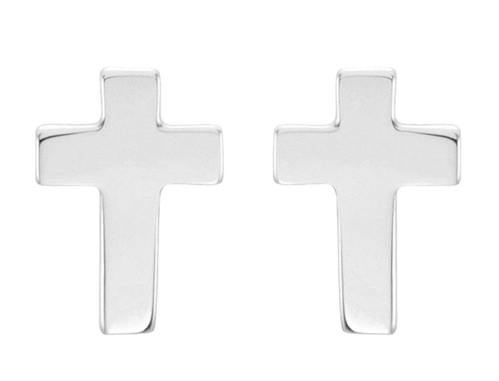 Girl's Christian Cross Stud Earrings, 14k White Gold (7x5MM)