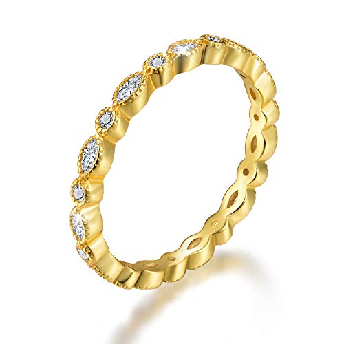Esberry 18K Gold Plating 925 Sterling Silver Cubic Zirconia Stackable Rings CZ Simulated Diamond Eternity Ring Engagement Wedding Bands for Women (Yellow Gold, 6.5)