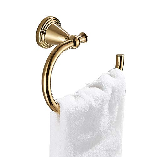 Rozin Gold Finish Wall Mounted Towel Hook Bath Towel Ring Hanger