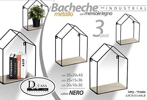 11 mensola bacheca in Metallo Nero Forma casetta con Ripiani in Legno Shabby Chic 18 26 cm 763663