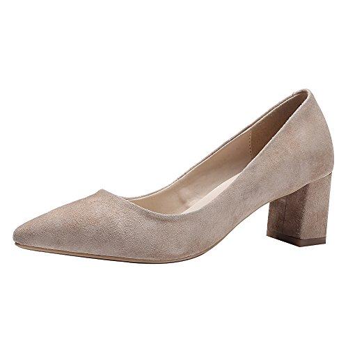 Oficina Bloque Puntiaguda Talón de Mujer Desnudo Clásico Piel Señoras Zapatos Carnero Zapatillas Trabajo Uniforme Jamron Punta de de gz70Yxx