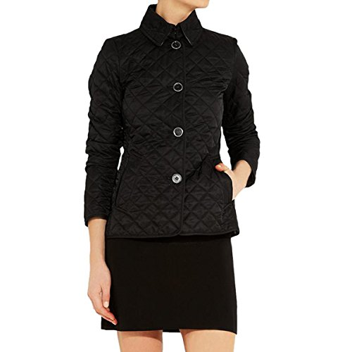 E.JAN1ST Women's Diamond Quilted Jacket Stand Collar Button End with Pocket Coat