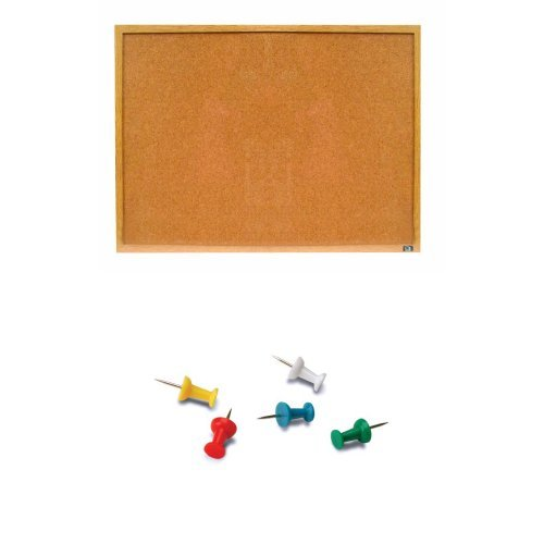 Quartet Economy Cork Bulletin Board, 18 X 12 Inch, Wood Frame, 3413835901 Wood with Push Pins, 100-Count, Assorted Colours