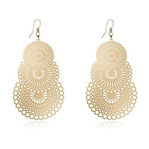 Fashion Jewelry Gold-Tone Alloy Cutout Flower Lightweight Bohemian Hoop Dangle Drop Earrings for Women