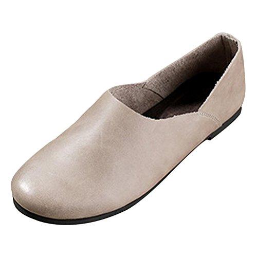 Mordenmiss Zapatos De Cuero De Los Holgazanes De Las Mujeres Zapatos Sin Cordones Estilo De 5-gris En venta de primera calidad Estilo de moda de descuento La mejor tienda para obtener precios baratos Oferta de descuento SwbrCuA3