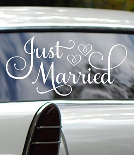 Just Married Car Decal, Wedding Day Car Decorations, White 24