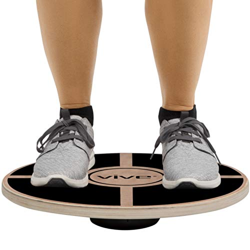 Vive Balance Board - Wooden Self Balancing Wobble Stability Platform - Wood Twist Trainer for Fit Abs, Arms, Legs, Core Tone, Surf, Skateboard, Gymnastics, Ballet, Exercise, Physical Therapy, and Kids