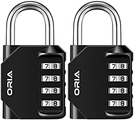 ORIA Combination Lock, 4 Digit Anti Rust Padlock Set, Metal & Plated Steel and Weather Proof Design for School, Employee, Gym & Sports Locker, Case, Toolbox, Fence, Hasp Cabinet & Storage - Pack of 2
