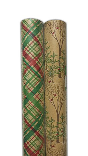 Christmas Print Natural Kraft Brown Gift Wrap Wrapping Paper Packaging 200 Sq Ft Pack Of 2 100 Sq Ft Huge Rolls Designer Vintage Retro Red Green Tree Plaid Buy Online In India At Desertcart