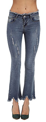 Blue Denim Flared Jeans - 8