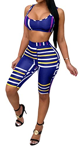 Women's Striped Print 2 Piece Outfit Tank Tops and Shorts Pants Set Tracksuit Sportwear